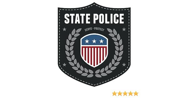 State Police Usa Flag Emblem Sign Hochwertigen Auto Autoaufkleber 10 X 12 Cm Küche Haushalt