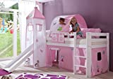 Hochbett ALEX Kinderbett mit Rutsche Spielbett Bett Weiß Stoffset Prinzessin
