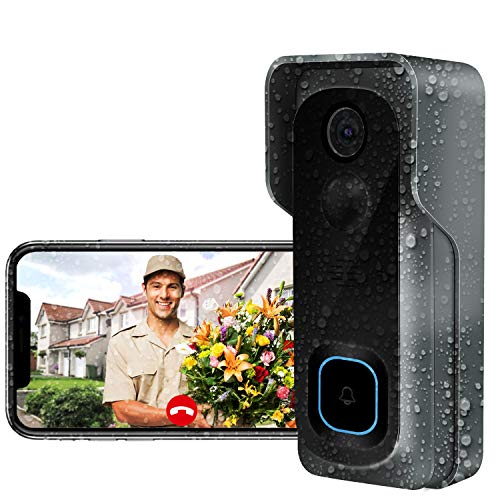 Türklingel mit Kamera,AWOW 1080P HD Video Türklingel WiIFi kamera mit Video Türsprechanlage,IP65 Wasserdicht, 30 Sekunden Sprachnachricht, PIR Bewegungsüberwachung,WLAN 2.4G Smart APP Fernbedienung Funk Video