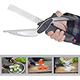 OKASTA Clever Cutter 2 In 1 Food Chopper Kitchen Scissors Smart Cutter Kitchen Knife Shears Vegetable Slicer Dicer With Cutting Board