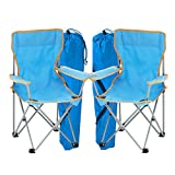 simpa 2 x BLUE Kids Childrens Folding Camping Chair Fishing Hiking Picnic Garden Collapsible Outdoor With Carrying Bag.