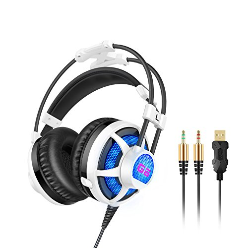 Price comparison product image Honstek G6 Stereo Gaming Headset, 3.5mm LED Over-Ear Headphones with Mic for PC Game and Music(Black/White)