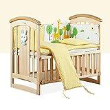 Nclon Pine Babybett, Moskitonetz zum aufhängen Massivholz 3-stellungs-basis Höhe verstellbar Swing Mute Rad Tragende Kinderbett Multifunktion-C 106 * 62 * 97cm