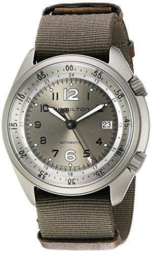 Hamilton Men's 'Khaki Aviation' Swiss Automatic Stainless Steel and Canvas Dress Watch, Color:Green (Model: H80405865)