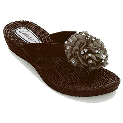 FANTASIA BOUTIQUE® femme tongs sandalettes talon bas fleur strass confortable Marron