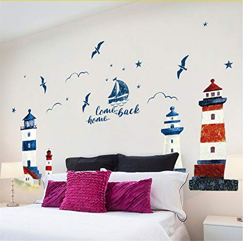 Lbonb Mediterraneo Faro Uccelli Marini Adesivo Da Parete Casa Soggiorno Divano Tv Sfondo Blu Rosso Scenario Parete Murale Scolpito Poster