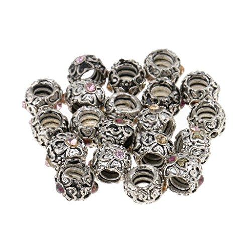 Homyl 20er-Set Antik Silber Dreadlocks Perlen Haar Bart Dekoration Zwischenperlen Flechten Zöpfe Haar Perlen Haarschmuck