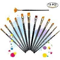 ATMOKO 13 Pinceaux de Peinture Sets de Brosses pour Peinture à l'huile, Aquarelle, Gouache, Acrylique