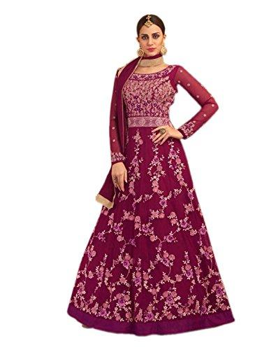 Shoppingover Indian Designer Heavy embroidery Floor Length Anarkali Salwar Kameez-Pink Color