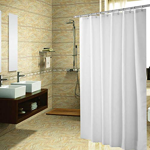 jihaoqwer Waterproof Bath Curtain Plain Polyester Waterproof Bath Curtain Hotel Bathroom partition Curtain, 180 * 180, weiß (100) G