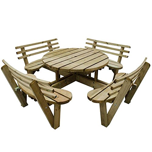 8 Seater Wooden Circular Picnic Table Attached Chairs with Backs