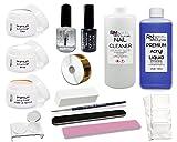 XL Acryl Set 4 3 x 20g Acrylpuder Klar Weiß Make-Up Apricot 100ml Liquid 100ml Cleaner Pinsel