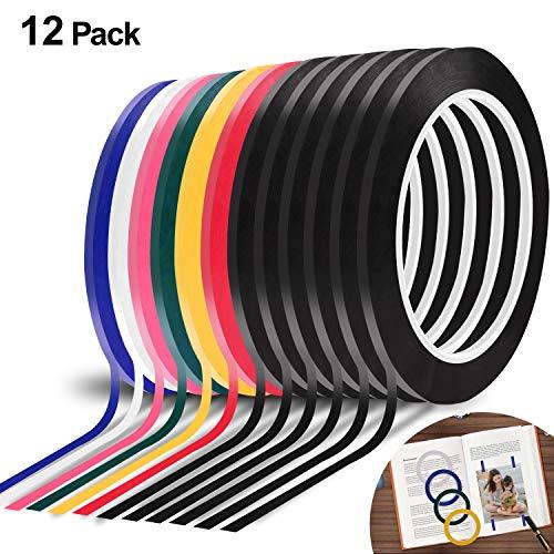 12 Rollen Whiteboard-Klebeband mit Gittermuster, 0,8 x 2,9 m, Vinyl-Klebeband, selbstklebend, 7 Farben, 72 m -