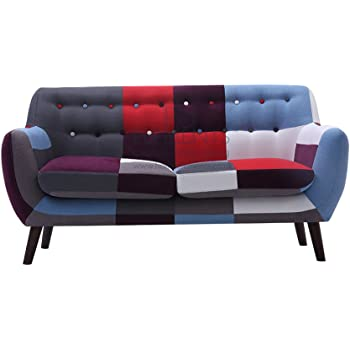 HomeElements Divano a 2posti Love Seat New retro vintage patchwork piccolo spazio Living UK stock