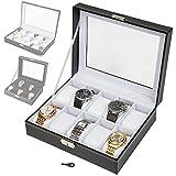 TecTake Uhrenbox Uhrenkasten Kunstleder - diverse Farben - (Schwarz/Weiß 10 Uhren | Nr. 401536)
