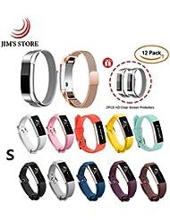 JIM'S STORE 2PCS Milanese Metallwiedereinbau-Magnet-Bügel u. 10PCS Silikon-Wirstbands mit Metall Gürtelschnalle + 2PCS Schirmschutz für Fitbit Alta / Alta HR (S)