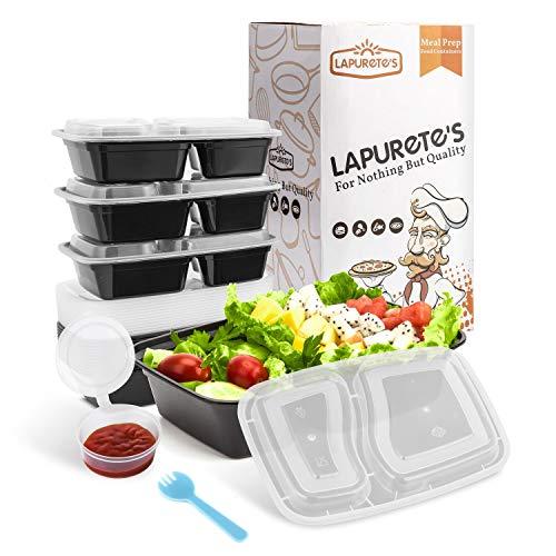 [15Pack] 2 Compartment BPA-frei meal prep containers Wiederverwendbar Kunststoff Frischhaltedosen mit Deckel. Stapelbar Mikrowelle Gefrierschrank Spülmaschinenfest Bento Lunch Box Set