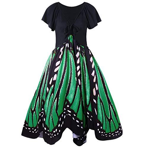 Yvelands Mode Damen Casual Lace Up Oansatz Schmetterlinge Print Kurzarm Swing ()