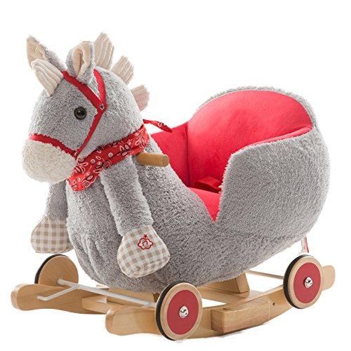 Qxmei cavallo a dondolo per bambini con musica in legno baby baby 2 in 1 regalo 1-4 anni,d