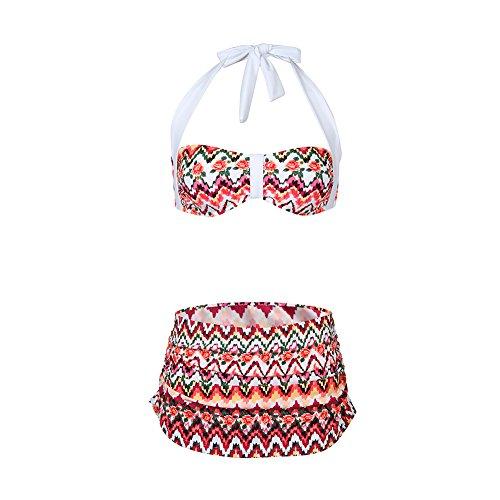 FeelinGirl Damen Bademode Push-up Triangel Bikini Criss Cross XL (Tankini Print Rio)