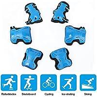 VISTANIA Equipo De Protección para Niños Set-Rodilleras Codo Protectores De Muñeca para Patinar Ciclismo Deportes Al Aire Libre,Blue