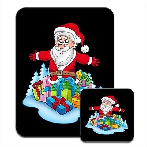 Papá Noel regalos abundancia! Premium Mousematt y posavasos