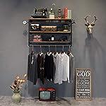 Coat racks SKC Lighting Wrought Iron Vintage Pipe Solid Wood Combination Wall Shelf Hook Hanger Suitable For Living/bedroom/study/clothing Shop Black(110 * 23cm)