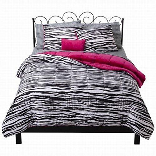 xhilaration-full-bed-in-bag-black-zebra-stripe-comforter-sheet-shams-pillow-by-xhilaration