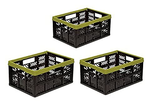 3 x Pliant 32 L vert / noir Boîte pliante Plastique boîte Caisse de transport Cabas/panier pour
