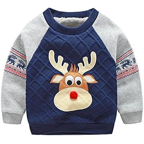 """OMSLIFE Felpe per Bambini Vestiti Casuali dei Bambini Abbigliamento Prima Infanzia Vello Manica Lunga Tops """"cervo"""""""