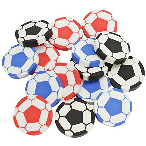 COM-FOUR 15x Radiergummi Fußball, 4,5 cm, in verschiedenen Farben, ideal als Mitgebsel oder für die Schultüte (15 Stück - Fußball)