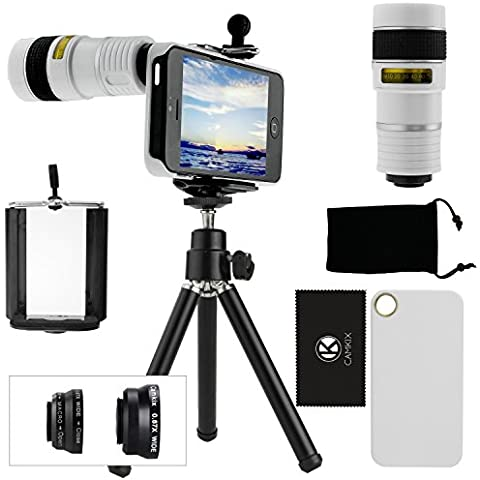 Juego de Lentes para Camara iPhone 5/5S incluye Lente Telefoto 8x / Lente Ojo de Pez / Lentes 2 En 1 Macro y Gran Angular / Mini Tripode / Sujetador para Telefono Universal/Anillo Sujetador del Lente Telefoto / Estuche Duro para iPhone 5/5S / Bolsa para Telefono de Terciopelo / CamKix Paño de Micro Fibra para Limpiar – Asombrosos Accesorios Adjuntos para su Camara iPhone 5/5S (Blanco)