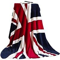 Luxus Weiche Kuscheldecke Flanell Wolldecke Tagesdecke Bettdecke Blankets mit Englische Flagge Aufdruck für Damen Herren Kinder Schlafzimmer Sofa Auto in alle Jahreszeit 200x150CM