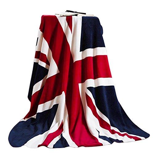 Luxus Weiche Kuscheldecke Flanell Wolldecke Tagesdecke Bettdecke Blankets mit Englische Flagge Aufdruck für Damen Herren Kinder Schlafzimmer Sofa Auto in alle Jahreszeit 200x150CM (Schlafzimmer Sofa)
