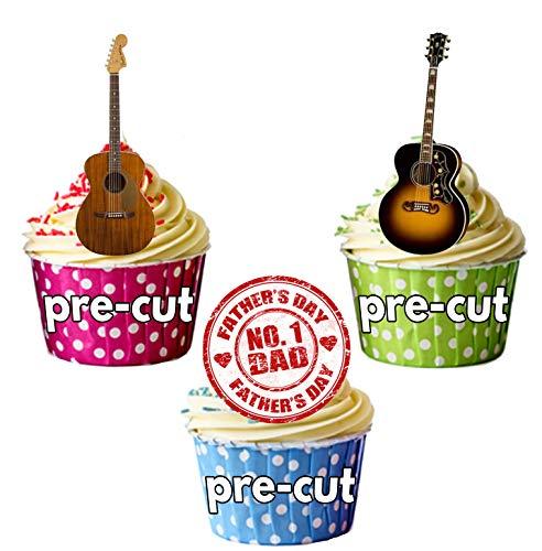 Día del Padre Guitarra Decoración de Tartas-Comestible stand-up Cup Cake Toppers (12unidades)