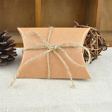 Comfot Hochzeit Rund Quadratisch Kissenkarte Papier Gunst Halter mit Bändern Drucken Favor Boxen-50Pcs,Brown
