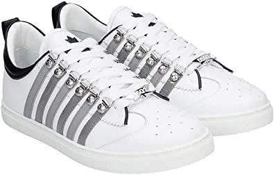 DSQUARED2 scarpe uomo lace-up low top sneaker 251 SNM0147 M1912 bianco in pelle 40