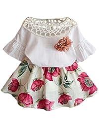 Para 2–7años de edad de niñas, deloito de manga corta y flores falda bebé Outfit Set