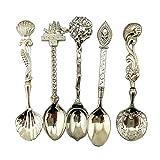 Fairylove Coffee Spoon Teaspoon 5pcs/Set Nostalgic Vintage Royal Style Metal Carved