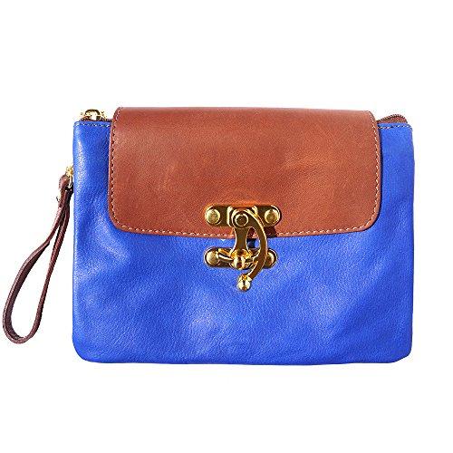 Pochette in vera pelle 9601 Blu elettrico-marrone