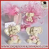 Calamite/magneti in resina a forma di elefantini assortiti con un cuore o un trenino per femminuccia - Bomboniera per nascita, battesimo, segnaposto comunione, compleanno (kit 12 pz)
