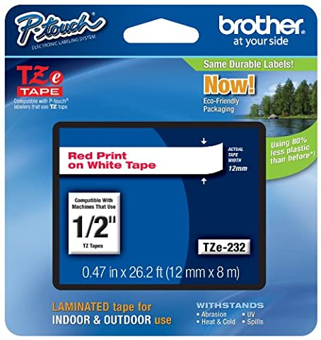 Brother TZE232 - BROTHER TZE232 P-TOUCH TAPE GLOSS RED ON WHITE 12MM