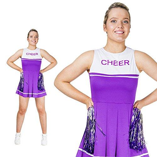 Cheerleader Monster Kostüm - Monster Lila weißes Cheerleader Kostüm Größe XS Damen Karneval 50102 Pompoms