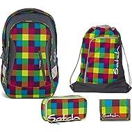 Satch Sac à dos d'écolier Set de 4accessoires avec Sleek Beach Leach 2.0901Carreaux multicolores