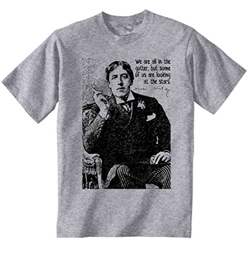 Teesquare1st Men's OSCAR WILDE GUTTER Grey T-Shirt