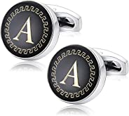 Yellow Chimes Exclusive Alphabet A Statement Cuff Links by Yellow Chimes Silver Plated Cufflink for Men (Black