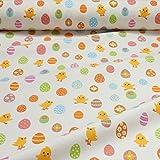 Stoff Baumwolle Polyester ecru Küken Osterei bunte Eier