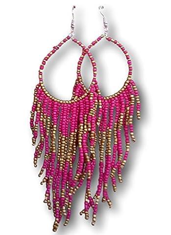 Tribal Dangle Fringe Tassel Bead & Hoop Earrings Native American
