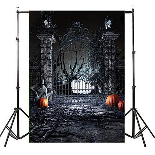 Deloito Halloween Hintergründe Kürbis Vinyl 3x5FT Laterne Wandtattoo Hintergrund Fotografie Studio Wandaufkleber (M, 90cm*150cm)