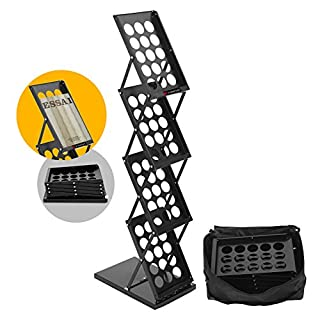 Voilamart Prospektständer,4x DIN A4 Hochformat Prospekthalter Eisen Flyerständer zusammenfaltbar Bodenprospektständer Faltprospektständer mit Tragtasche